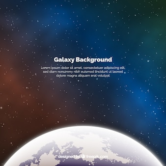 Galaxy background with earth