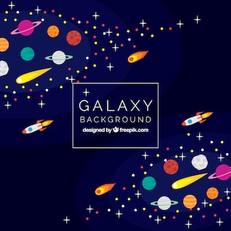 Galaxy background with meteorites and rockets