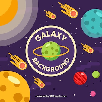 Galaxy background with meteorites