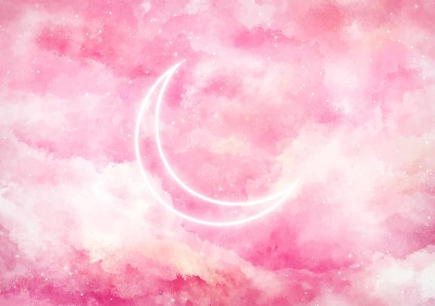 ネオンの月と銀河の背景