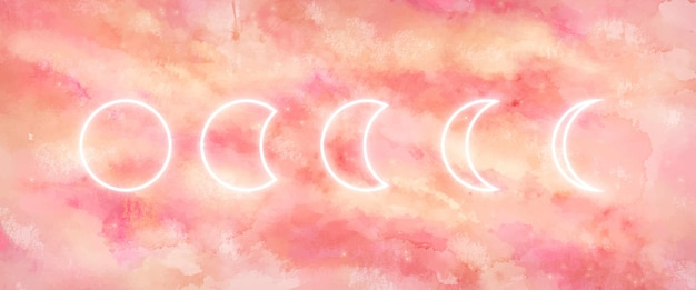 Galaxy background with moon phases