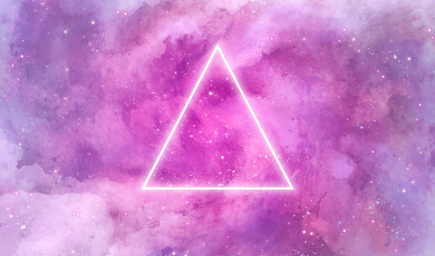 Galaxy background with neon triangle
