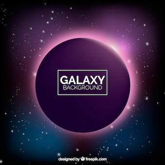 Sfondo della galassia con il pianeta