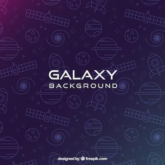 Фон галактики с планетами и спутниками