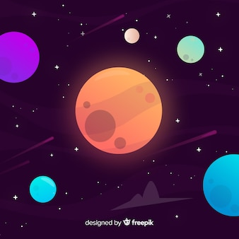 Galaxy background with planets