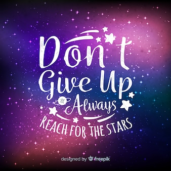 Galaxy background with quote design