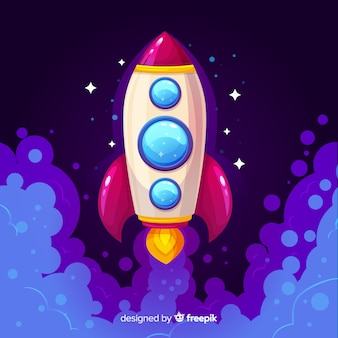 Galaxy background with rocket taking off