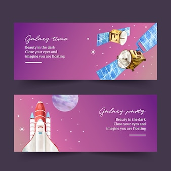 Galaxy banner design with satellite, rocket watercolor illustration.