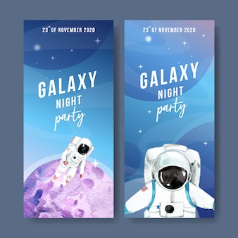 Galaxy banner with astronaut, planet watercolor illustration.