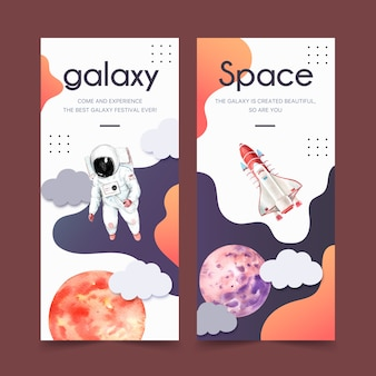 Galaxy banner with planet, astronaut, rocket watercolor illustration.