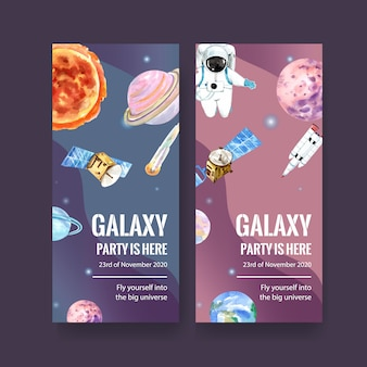 Galaxy banner with sun, planet, asteroid, earth, satellite watercolor illustration.