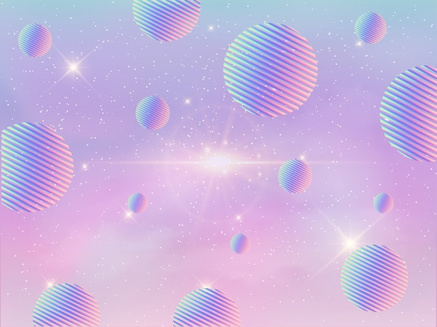 Galaxy colorful holographic geometric background.