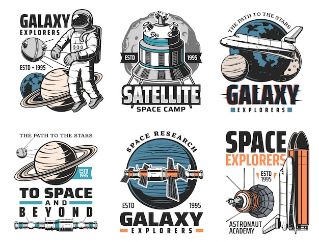Galaxy exploration, space discovery  icons