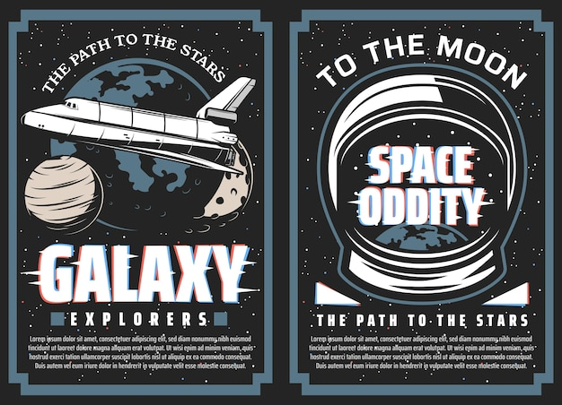 Galaxy explorers, space travel to stars  banners. space shuttle orbiter flying in galaxy, solar system planets and astronaut spacesuit helmet with planet earth reflection. moon program posters