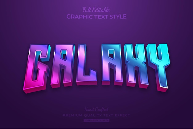 Galaxy gradient editable text effect font style