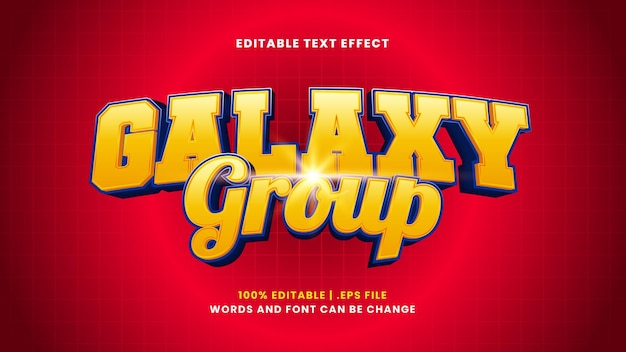 Galaxy group editable text effect in modern 3d style