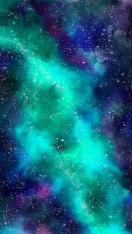 Galaxy mobile background in green tones