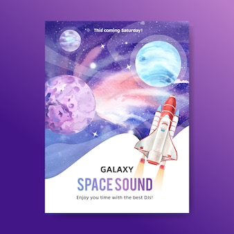 Galaxy poster design with cosmos and planet watercolor illustration.