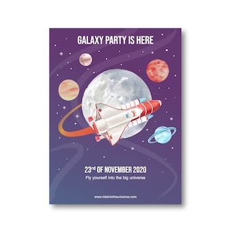 Galaxy poster design with saturn, moon, rocket, venus watercolor illustration.