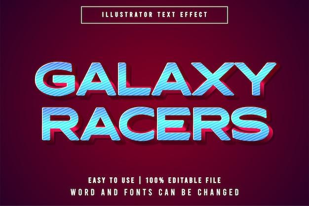 Galaxy racers, редактируемый игровой логотип макет текста эффект концепции