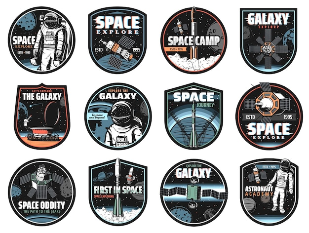 Galaxy, space, astronaut and rocket icons
