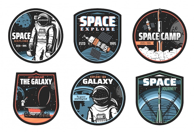 Galaxy, space, astronaut and rocket vector icons