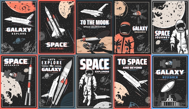 Galaxy and space exploration retro posters with glitch effect