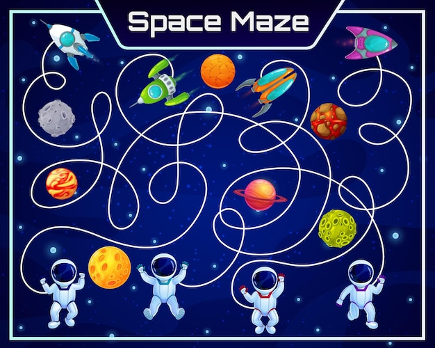 Galaxy space labyrinth maze with planets and astronauts. kids board game, vector task with tangled path and cartoon cosmonauts characters finding spaceships. educational riddle worksheet