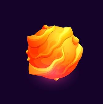溶岩の表面、ファンタジー銀河と宇宙のベクトルアイコンを持つ銀河宇宙惑星。流星と火の小惑星からの燃えるようなクレーター、エイリアン文明のある素晴らしい地球外銀河惑星