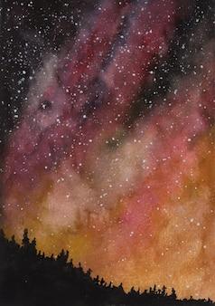 銀河星空の夜の水彩画の背景