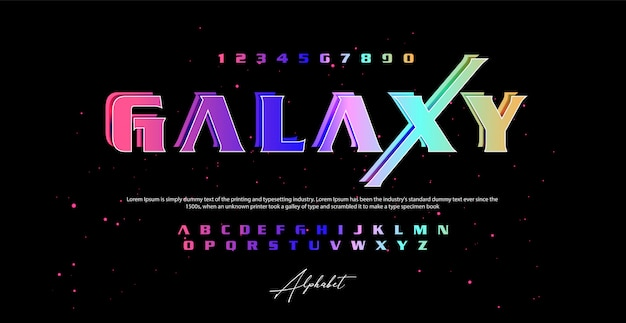 Galaxy style font, alphabet and numbers,