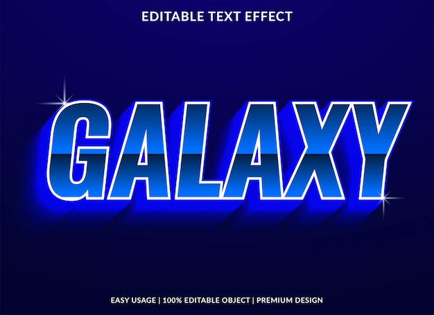 Galaxy text effect template with neon light and glowing style