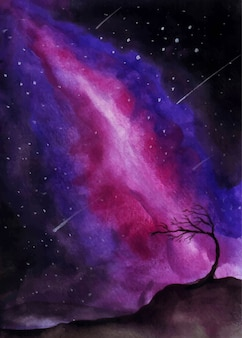 Galaxy themed watercolor painting with shooting stars.