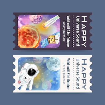 Galaxy ticket template with astronaut, sun, planet, meteor watercolor illustration.