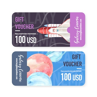 Galaxy ticket template with rocket, planets watercolor illustration.