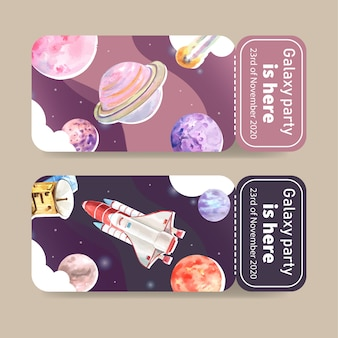Galaxy ticket template with rocket, satellite, planet watercolor illustration.