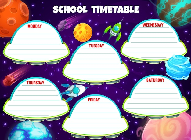 Galaxy timetable with spaceships and shuttles
