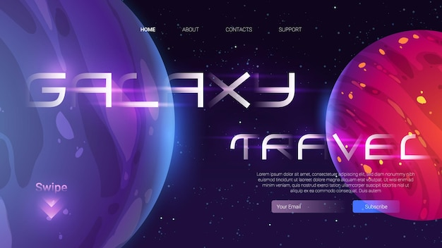Galaxy travel cartoon landing page template with planets