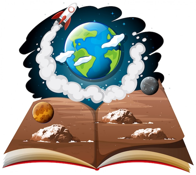 Galaxy with earth and rocket ship on a book