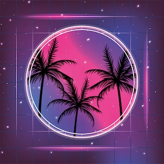 Galaxy with geometric style and palms label