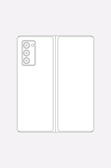 Galaxy z fold 2のアウトライン、リアカメラ、折り畳み式携帯電話のベクトル図