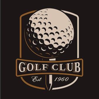 Логотип мяч galf на темном фоне. все элементы, текст - это отдельный слой.