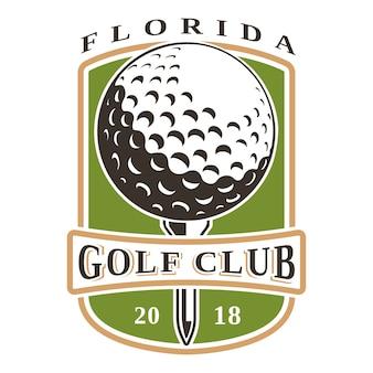 Логотип мяч galf на белом фоне. все элементы, текст - это отдельный слой.