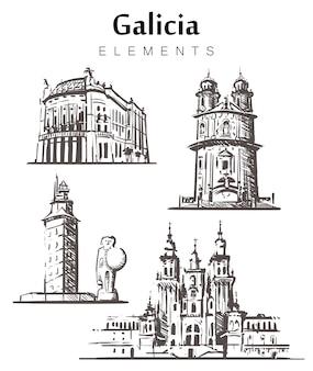 Галисия набор эскиз зданий, изолированные на белом