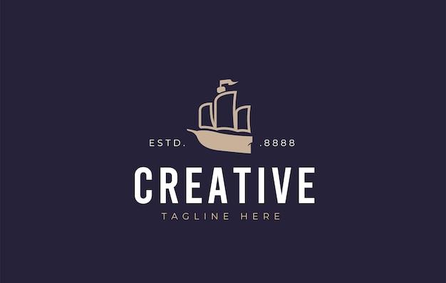 Дизайн логотипа галеон векторная иллюстрация минималистского дизайна иконок старого корабля Premium векторы