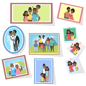 Gallery of african american family portraits in frames. photo of group of people. cute mom and dad in love.   illustration in cartoon style