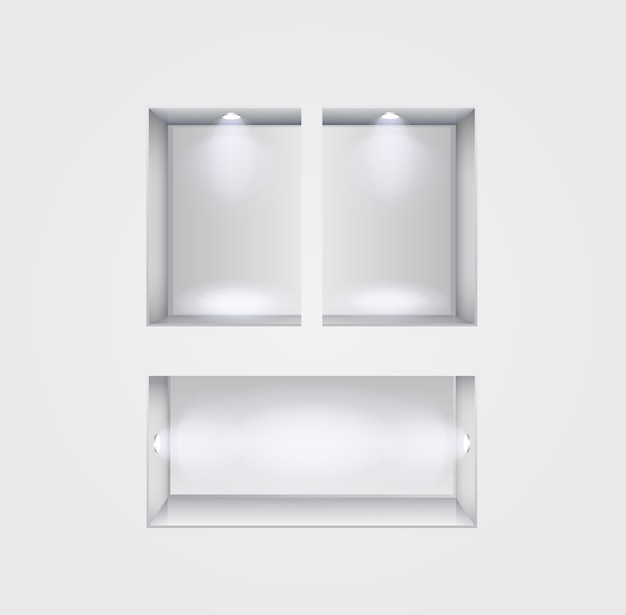 Gallery interior with shelves and spotlight