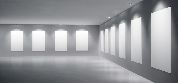 Gallery, museum exhibition hall realistic vector