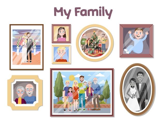 フレーム内の家族の肖像画のギャラリー。人々のグループの写真。かわいいママとパパの恋。漫画のスタイルの分離ベクトルイラスト