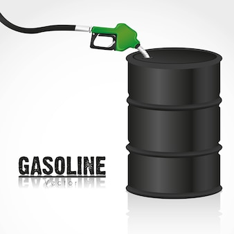 Gallon of fuel with gasoline dispenser
